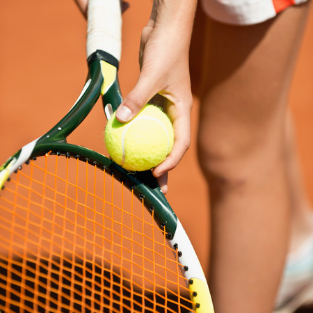 recreational pursuits: Female tennis player serving Stock Photo