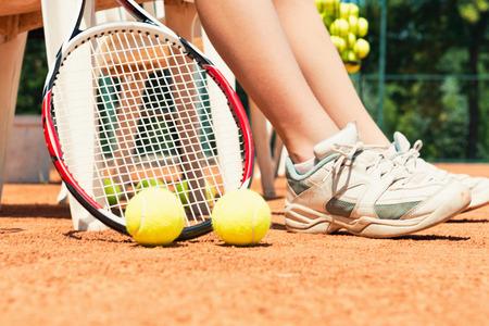 having a break: Tennis equipment - player having a break between games Stock Photo