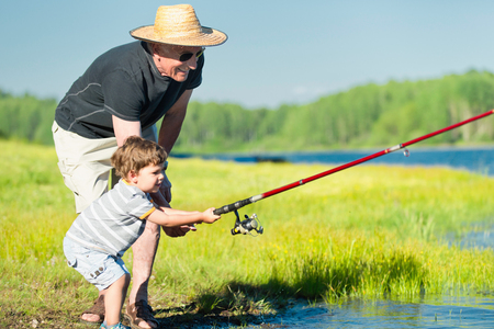 bridging the gap: Grandson and grandfather fishing together