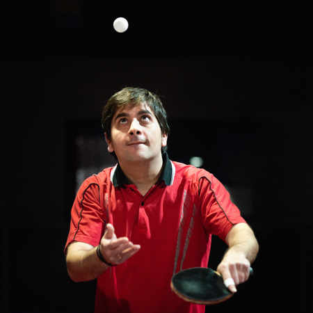 serve one person: Table tennis player on serve Stock Photo