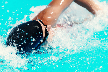 High speed swimming action, close up