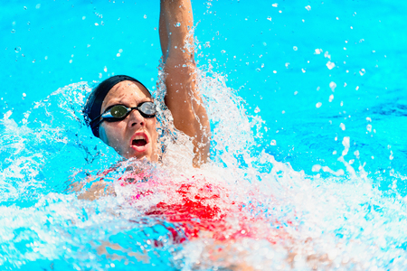 backstroke: Backstroke swimming - Female athlete swimming backstroke. High speed action shot