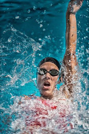 backstroke: Backstroke swimming action