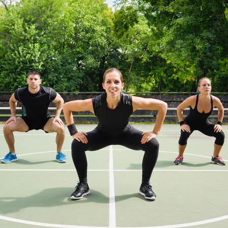 cardiovascular workout: Fitness team demonstrating their workout program