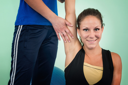 flexion: Physical therapy: working on shoulder flexion