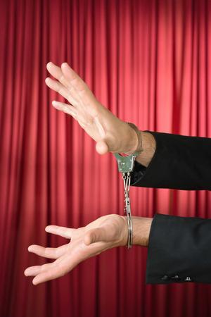 cuffed: Cuffed hands of an escape artist
