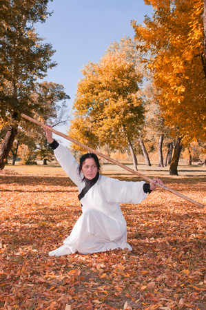 fighting stance: Kung Fu master with stick in a defensive fighting stance Stock Photo