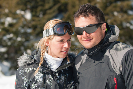 couple winter: Young couple on winter vacation Stock Photo