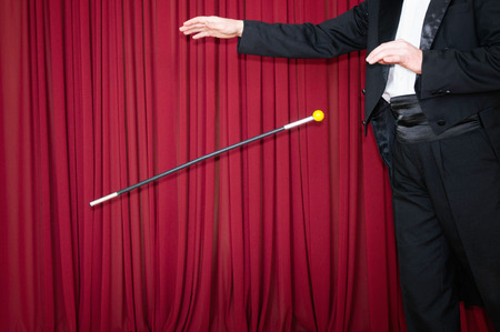 magic trick: Magician performs classic magic trick with dancing cane
