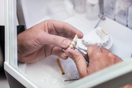 articulator: Dental technician or dentist working with tooth dentures in his laboratory