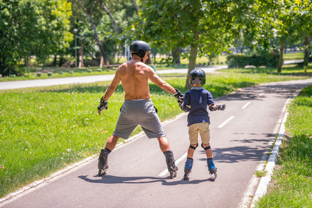 Roller skating activities in the park