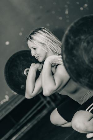 weightlifting: Female on weightlifting training