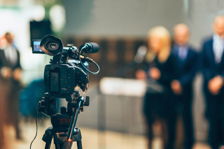 commercial event: Television camera recording publicity event Stock Photo