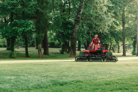 golfcourse: Golf course maintenance equipment, fairway mower Stock Photo