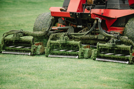 Golf course maintenance equipment, fairway mower Foto de archivo