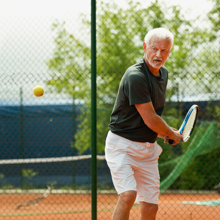 70s tennis: Senior male tennis player