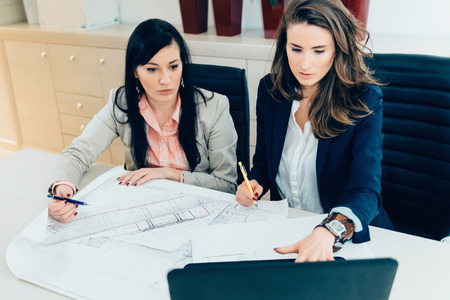 female architect: Female architect examining discussing