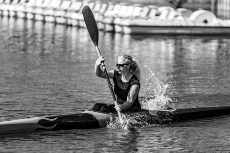 Female Kayaker training