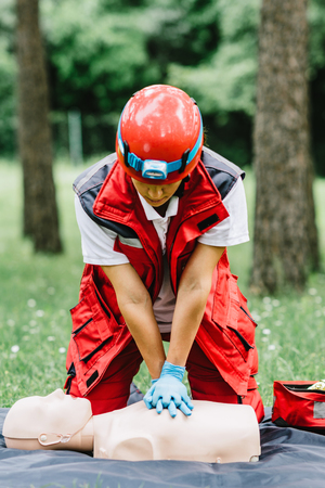 respiration: Cpr training outdoors