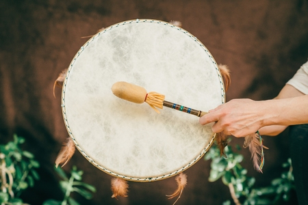 Indian drum in sound therapy 스톡 콘텐츠