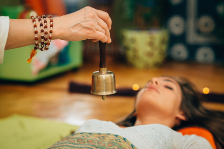 Bali bell in sound therapy Stock Photo