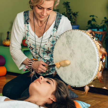 Indian drum in sound therapy Imagens