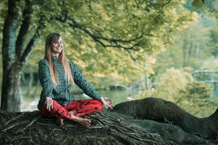 Mindful meditation Stock Photo