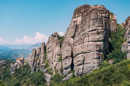 Meteora monasteries built on limestone rocks, Greece Stock Photo