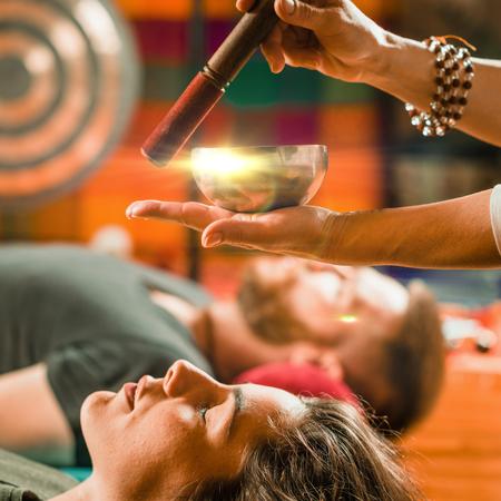 Tibetan singing bowl in sound therapy