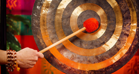 Gong in sound therapy  Stock Photo