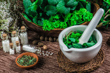 Homeopathic globules in small bottles, mortar and pestle full of fresh mint, homeopathy concept