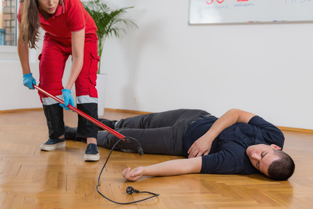 First Aid Training - Electric shock. Fist aid course. Reklamní fotografie