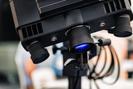 3D Motion and deformation sensor with blue light technology for automotive industry, aerospace industry, biomechanics and for researches and development. Stock Photo