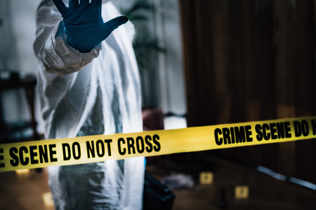 Forensic Science. Forensics Investigator Collecting Evidence. Stockfoto