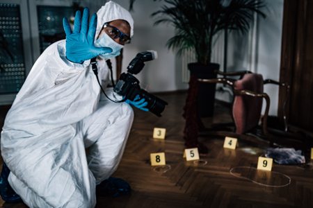 Police Forensic Detective Photographing Crime Scene, Collecting Evidence Imagens