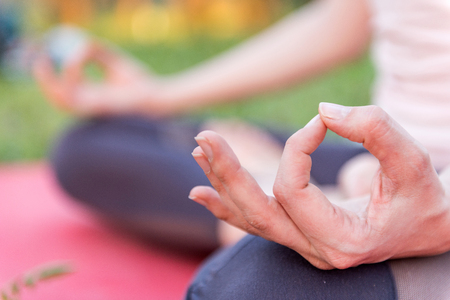 Yoga Detail From Lotus Position Imagens