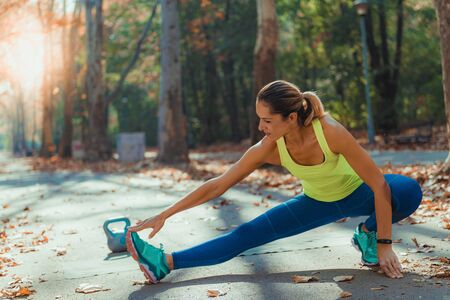 Women Exercising Outdoors, Park, Nature Stock Photo