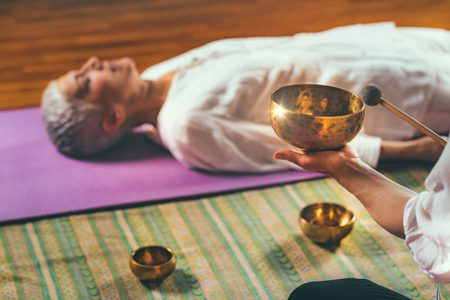 Tibetan singing bowl in sound meditation therapy