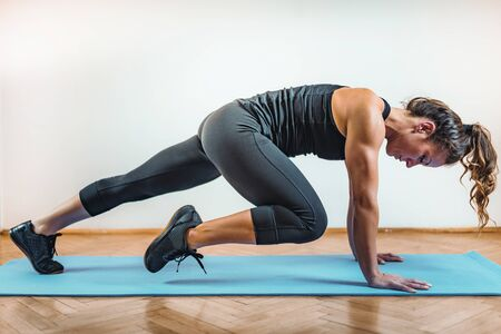 HIIT, High Intensity Interval Training Workout Indoors Stock Photo