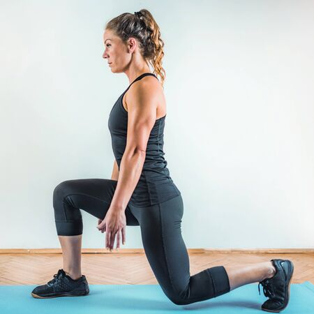 Lunges Exercise. HIIT or High Intensity Interval Training Indoor