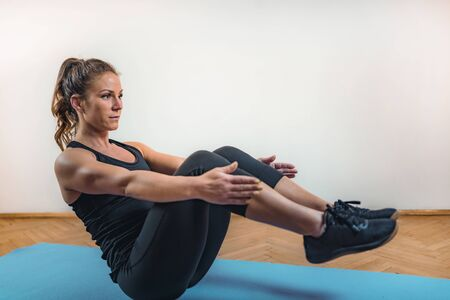Crunches, High Intensity Interval Training or HIIT Archivio Fotografico