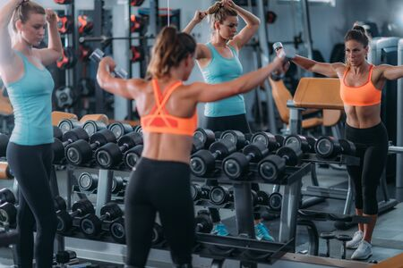 Women Exercising with Weights in the Gym