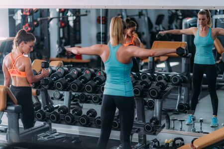 Female Friends Exercising with Weights in The Modern Gym
