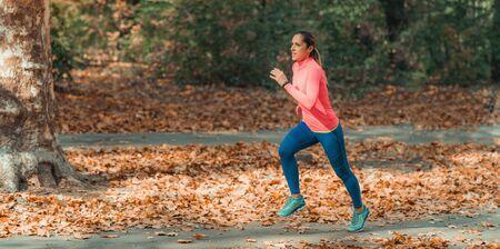 Woman Jogging. Nature, Outdoor Park Stok Fotoğraf