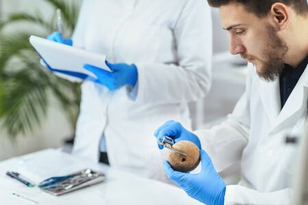 Young male archaeologist measuring ancient artifacts in laboratory.