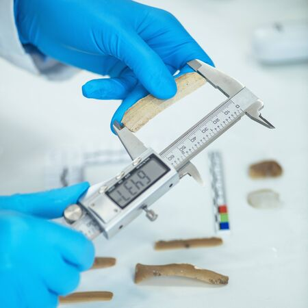Archaeologist measuring lithics with caliper in laboratory.