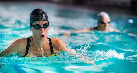 Breaststroke Swimming in the Indoor Pool.