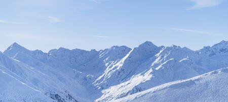 Morning winter landscape, mountain peak ski resort. Stok Fotoğraf