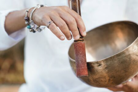 Tibetan singing bowl in sound therapy close up