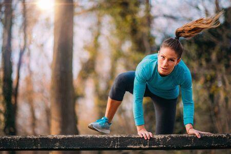 Women Exercising Outdoors, Park, Nature. Reklamní fotografie
